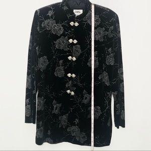 Vintage Tops - VTG JBS Ltd Black Velvet Tunic Mandarin Co…
